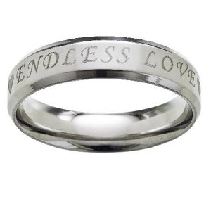Stainless Steel Wedding Ring Engraved with