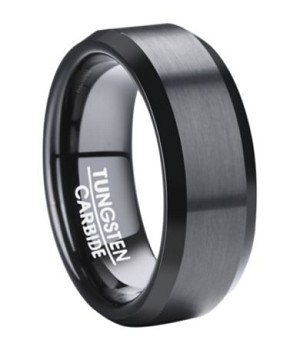 Men's Black Tungsten Wedding Ring with Beveled Edges | 8mm