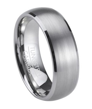 Men's Tungsten Wedding Ring with Polished Beveled Edges | 8mm