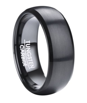 Men's Black Tungsten Wedding Ring with Narrow Beveled Edges | 8mm