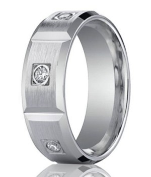 Designer Platinum Band With 6 Burnish Set Round Diamonds | 8mm