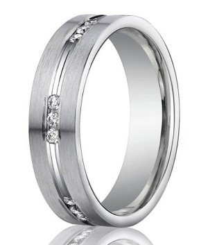 Designer Platinum Men's Wedding Band With 18 Round Diamonds | 6mm