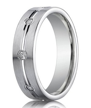 Designer Platinum Band With 8 Diamonds and Satin Finish | 6mm