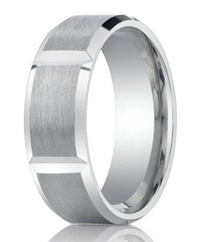 Palladium Men S Wedding Band With Vertical Grooves And Polished Edges 8mm