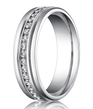 Palladium Wedding Ring with Eternity Diamond Setting | 6mm