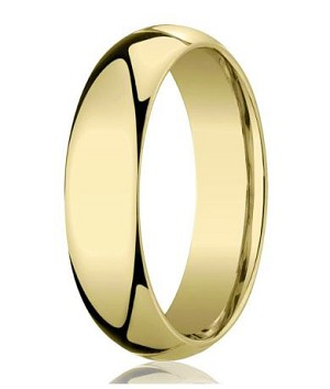 Mens Designer 10K Yellow Gold Wedding Band With Domed Profile