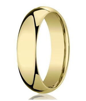 Comfort-Fit 18K Yellow Gold Domed Wedding Band with Polished Finish – 5 mm - MB1178
