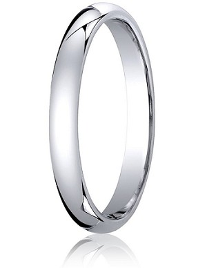 Comfort-Fit 18K White Gold Domed Wedding Band with Polished Finish – 3 mm - MB1175