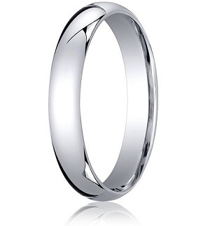 Comfort-Fit 18K White Gold Domed Wedding Band with Polished Finish – 4 mm - MB1176