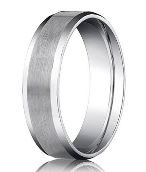 Comfort-fit 14K White Gold Wedding Band with Beveled Edge Satin Finish – 6 mm - MB1029
