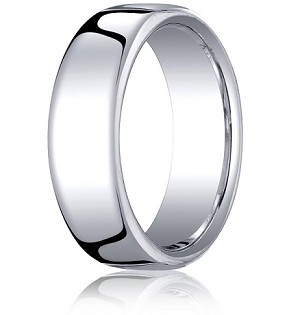 Comfort-fit 14K White Gold Wedding Band with Nouveau-fit Polished Finish – 7.5 mm - MB1040
