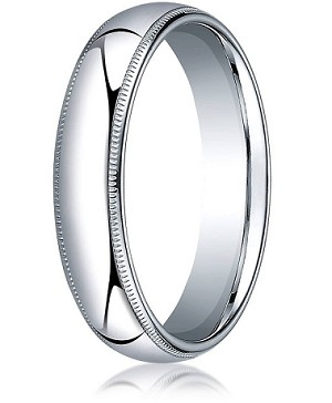 Comfort-fit 18K White Gold Wedding Band with Domed Milgrain Polished Finish – 5 mm - MB1204