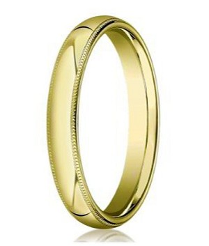Comfort-fit 10K Yellow Gold Wedding Band with Domed Milgrain Polished Finish – 4 mm - MB1042