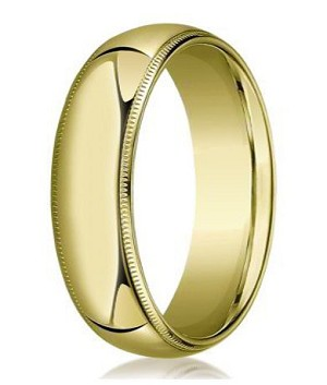 Designer 8 mm Domed Milgrain Polished Finish with Comfort-fit 10K Yellow Gold Wedding Band - MB1046