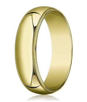 Comfort-fit 18K Yellow Gold Wedding Band with Domed Milgrain Polished Finish – 8 mm - MB1210