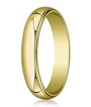 Comfort-fit 18K Yellow Gold Wedding Band with Domed Milgrain Polished Finish – 5 mm - MB1205