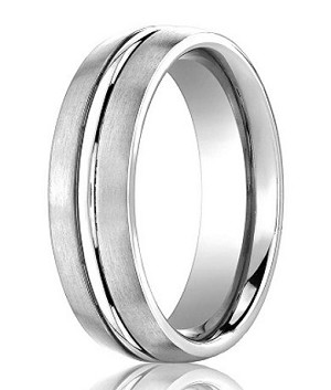 Comfort-Fit 14K White Gold Wedding Band with Designer Engraved Satin Finish – 6 mm - MB1123