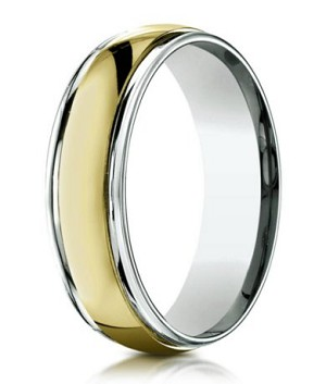Comfort-Fit 14K Yellow & White Gold Wedding Band with Two-Toned Polished Finish – 6 mm - MB1148