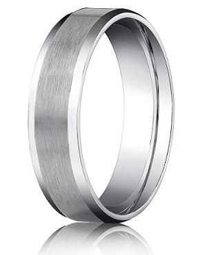 Comfort Fit 18K White Gold Wedding Band with Beveled Edge Satin Finish – 6 mm - MB1234