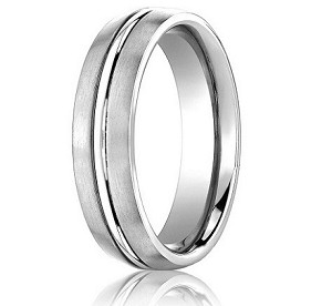 Comfort Fit 18K White Gold Wedding Band with Designer Engraved & Satin Finish – 4 mm - MB1238