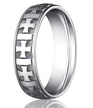 Comfort Fit 18K White Gold Wedding Band with Designer Carved Crosses and Polished & Brushed Finish – 6 mm - MB1261