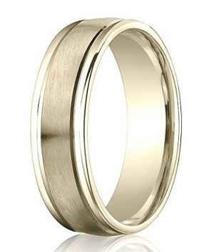 Comfort Fit 18K Yellow Gold Wedding Band with Designer Engraved & Satin Finish – 6 mm - MB1273