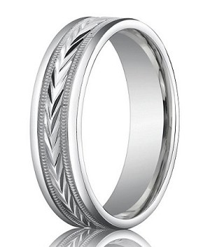 Comfort Fit 10K White Gold Wedding Ring with Carved Polished Finish – 6 mm - MB1295