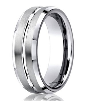 Men's Cobalt Chrome Ring with Grooved Satin Finish and Polished Edges | 7mm - MBCB1009