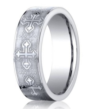 Designer Cobalt Christian Wedding Band with Crosses | 7mm