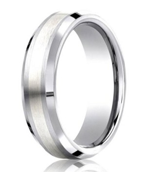 Designer Cobalt Wedding Ring with Silver Inlay | 7mm