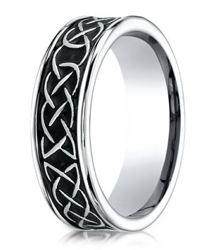 Two Tone Celtic Knot Designer Cobalt Chrome Wedding Band | 7mm