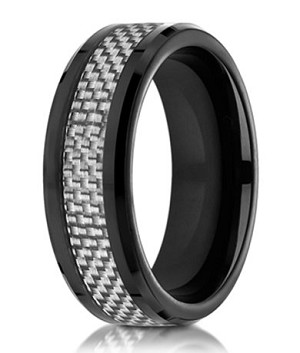 Black Cobalt Chrome Men's Wedding Ring with White Carbon Fiber | 8mm