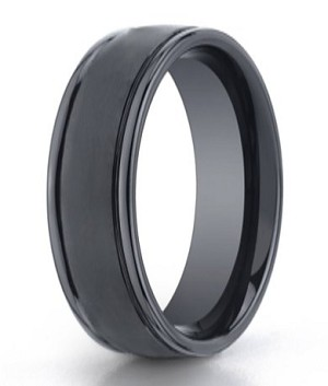 Benchmark Seranite Mens Wedding Band with Satin Finish and Round Polished Edge | 8mm