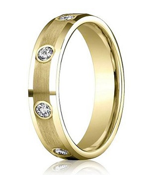 14K Yellow Gold Diamond Wedding Band with Satin Finish | 4mm - MBD0101