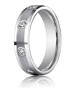 14K White Gold Diamond Wedding Ring with Satin Finish | 4mm - MBD0102