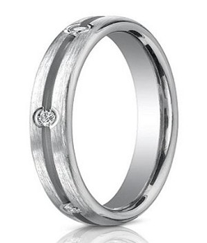 14K White Gold Diamond Band with Brushed Finish | 3.5mm - MBD0104