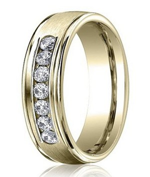 14K Yellow Gold Diamond Wedding Band with 7 Diamonds | 6mm - MBD0107