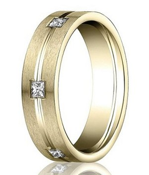 Benchmark 14K Yellow Gold Ring with Six Princess Cut Diamonds | 6mm - MBD0109