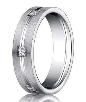 Benchmark 14K White Gold Diamond Ring with Six Princess Cut Diamonds | 6mm - MBD0110