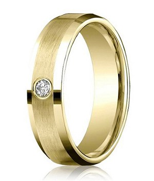 Benchmark 14K Yellow Gold Ring with Single Round Diamond | 4mm - MBD0111