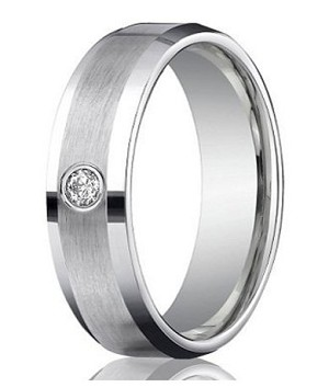 Designer Platinum Wedding Ring with Single Round Diamond and Satin Finish | 6mm - MB0194