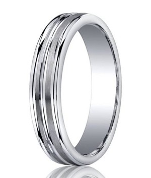 Mens Silver Wedding Band with Three Polished Edges and Satin Finish | 5mm - MBS1013