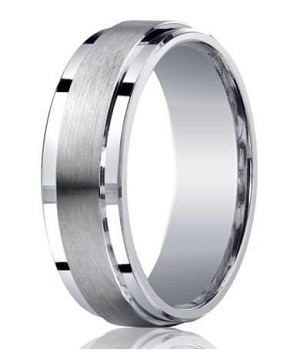 Mens Silver Wedding Ring with Satin Center and Polished Step-Down Edges | 7mm - MBS1016