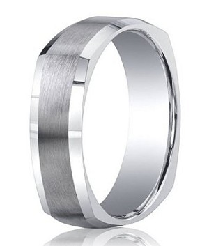 Argentium Silver Four-Sided Wedding Ring with Satin and Polished Finish | 7mm - MBS1020