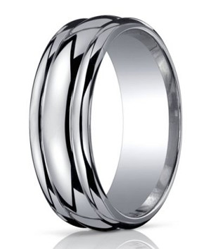 Benchmark Argentium Silver Wedding Band with Round Edges | 10mm