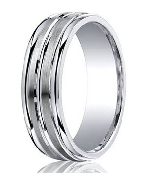 Argentium Silver Wedding Ring with Three Polished Bands | 7mm - MBS1023
