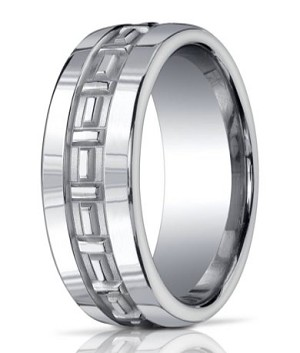 Benchmark Argentium Silver Wedding Band with Polished T-pattern | 10mm