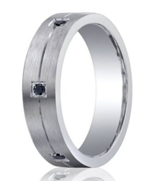 Benchmark Argentium Silver Wedding Ring with Black Diamonds | 5mm