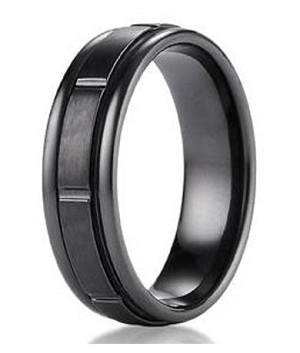 Men's Designer Black Titanium Ring with Satin Finish and Polished Grooves | 6mm - MBT1007