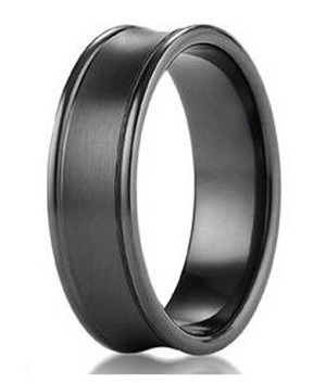Designer Men's Concave Black Titanium Wedding Ring with Polished Edges | 7.5mm - MBT1008